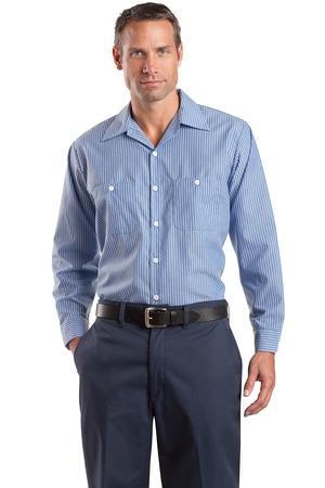 ed72d6709 Red Kap Men's Tall Long Sleeve Striped Industrial Work Shirt. CS10LONG. Red  Kap Blue/White ...