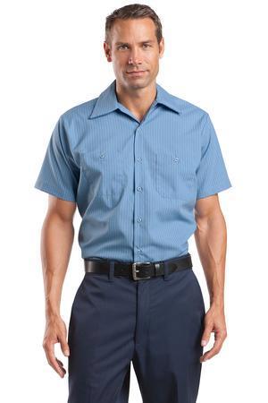 8e70c1a2bf ... Short Sleeve Striped Industrial Work Shirt. CS20. Red Kap Petrol  Blue Navy ...