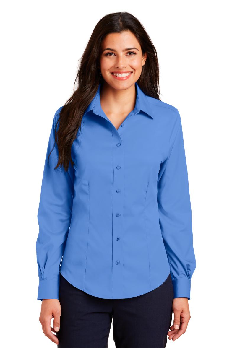 766e2a437 PortAuthority Ladies Non-Iron Twill Shirt L638-Logo Shirts Direct