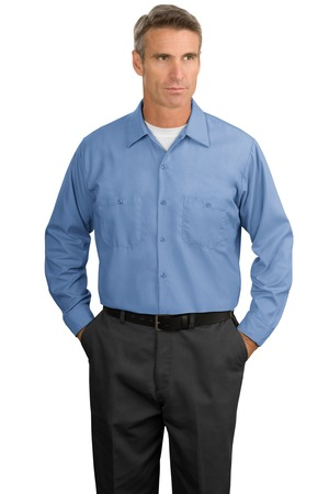 Red kap men 39 s tall long sleeve industrial work shirt for Tall mens work shirts