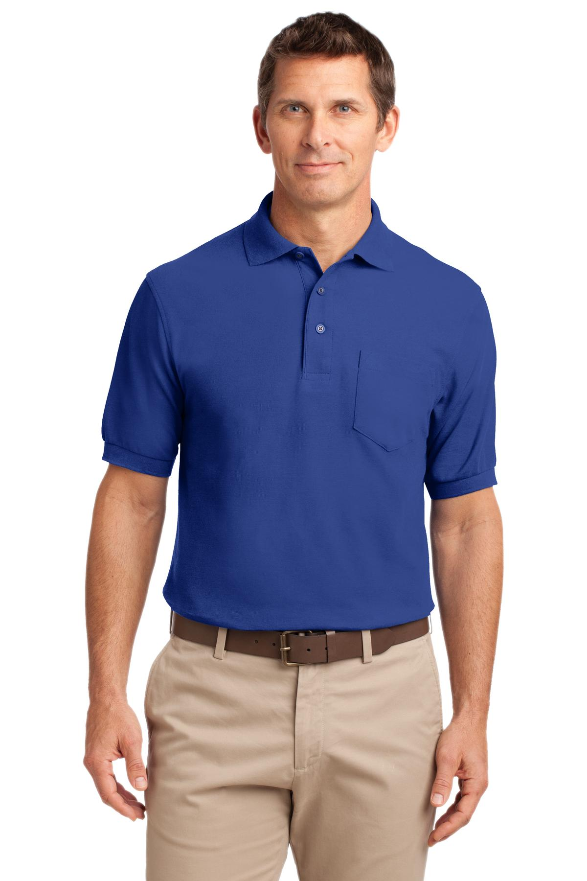 9326a2a4 Port Authority Men's Silk Touch Pocket Polo. K500P.