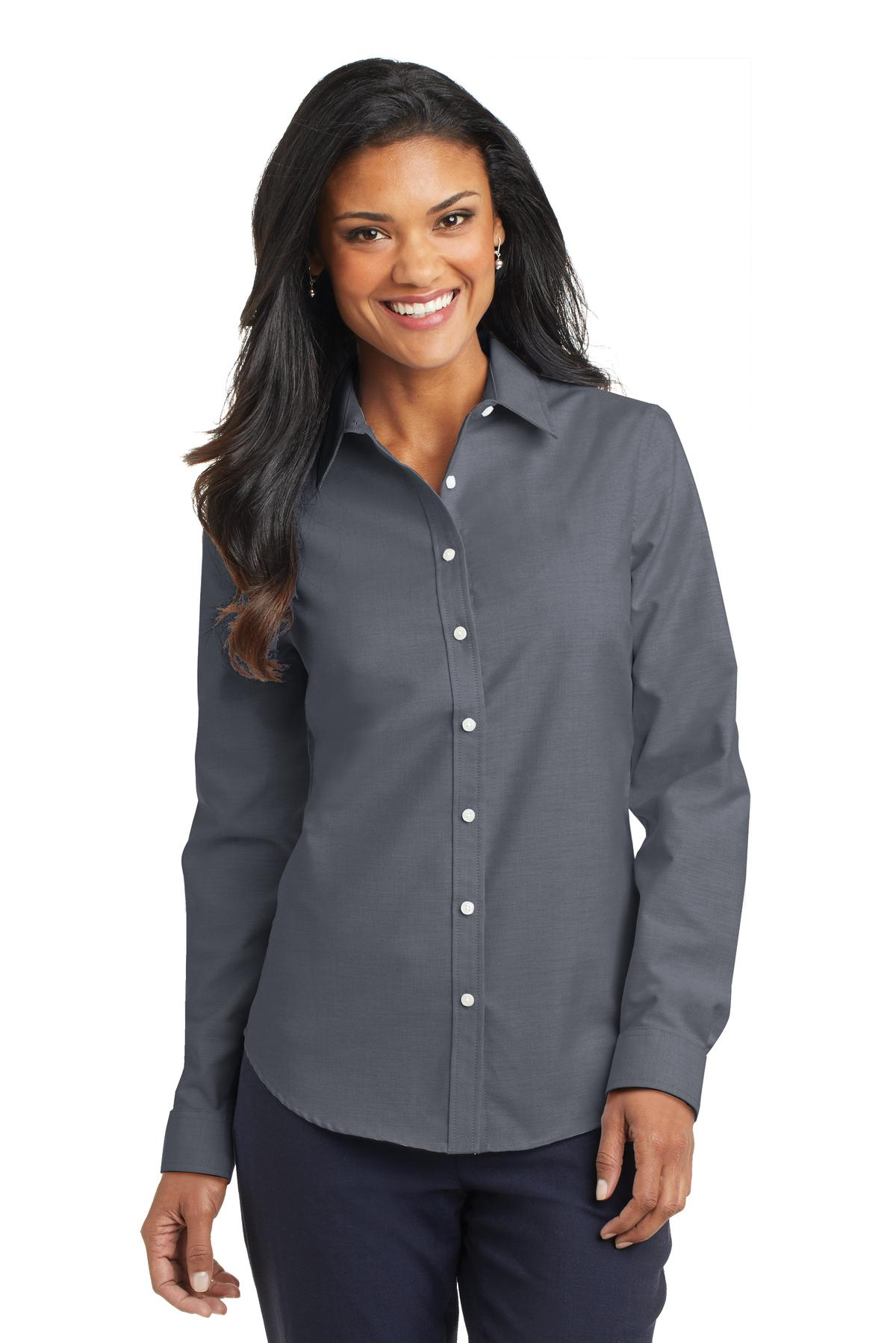 Awesome Port Authority Womenu0026#39;s Short Sleeve SuperPro Oxford Shirt. L659.