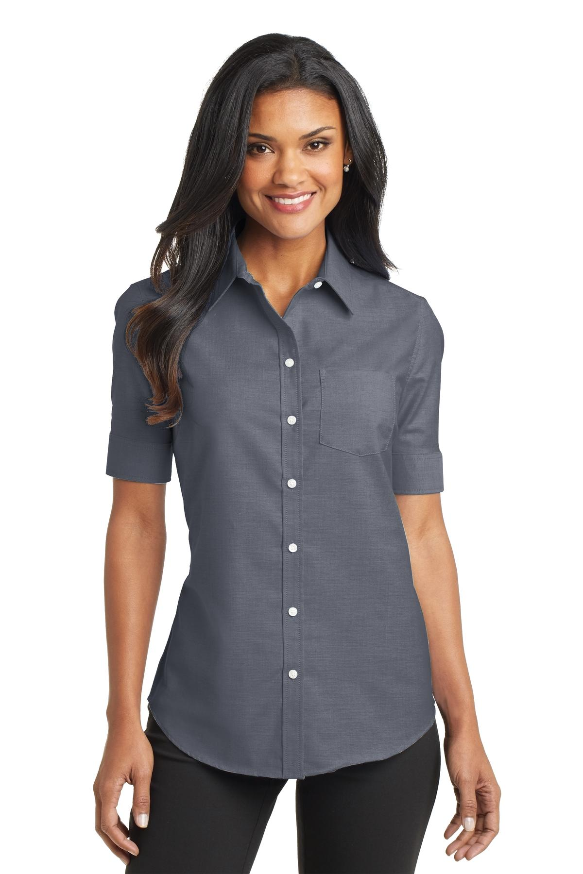 UltraClub Ladies' Classic Wrinkle-Resistant Short-Sleeve Oxford A lightweight blend of cotton/poly fabric that is wrinkle-resistant is the start of an excellent ladies' oxford work shirt. Cut for a classic fit and sewn with a button-down collar.