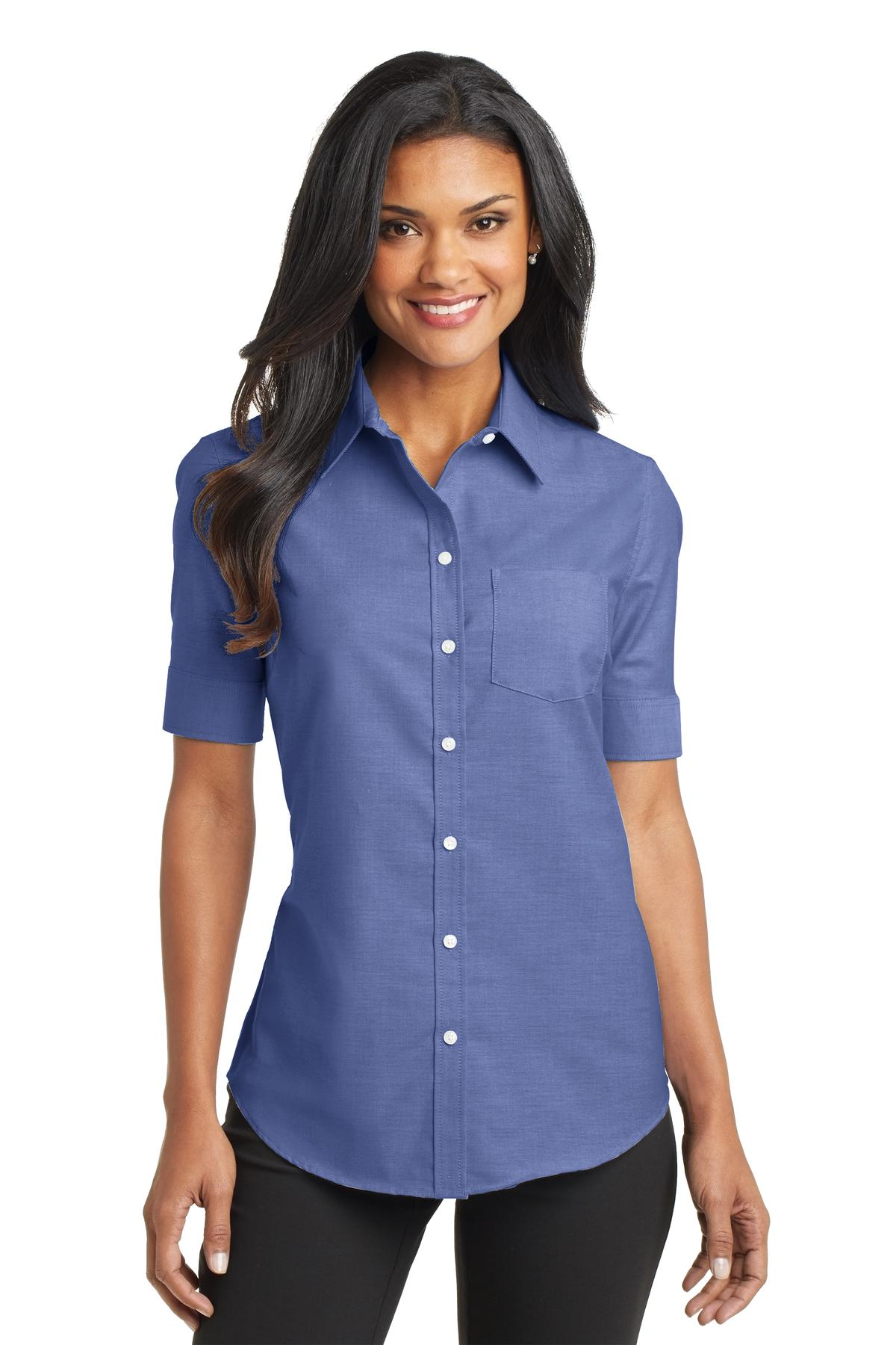 Port Authority Women's Short Sleeve SuperPro Oxford Shirt. L659.