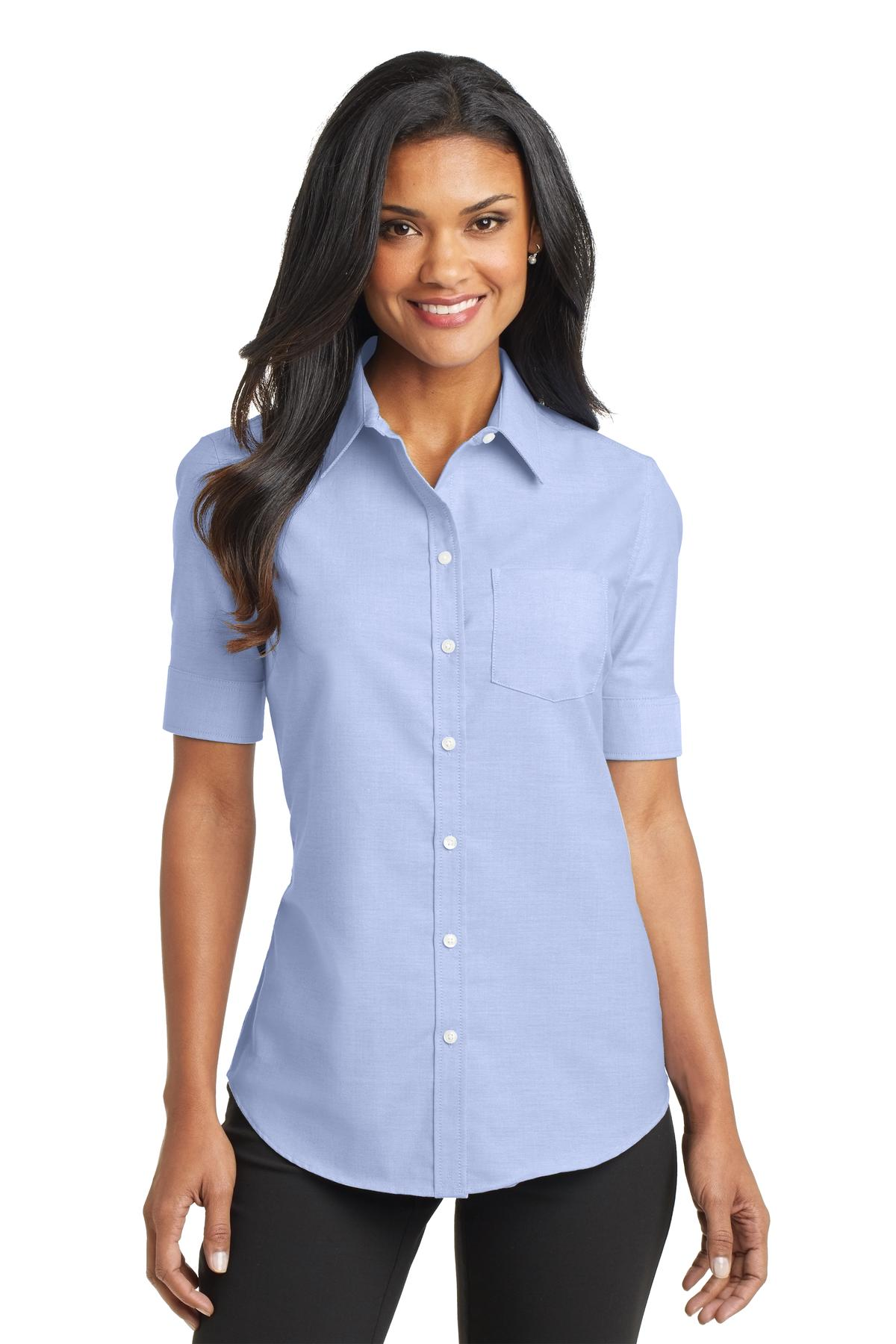 port authority women 39 s short sleeve superpro oxford shirt