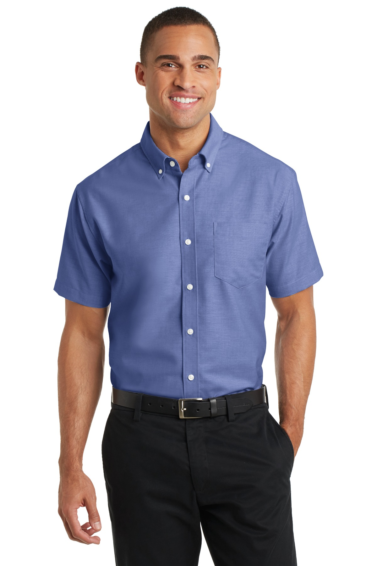 Port authority men 39 s short sleeve superpro oxford shirt s659 for Short sleeved shirts for men