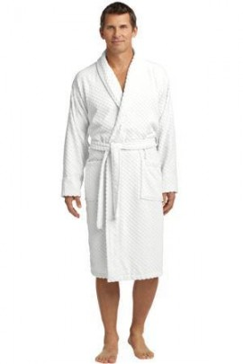Port Authority White Checkered Terry Shawl Collar Robe