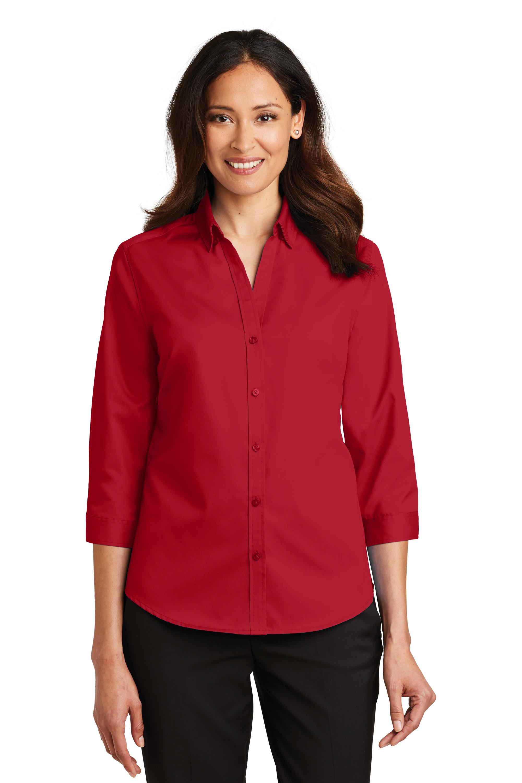 34 Sleeve Ladies L665 Custom Shirt Logo Port Authority wq7EvccZ