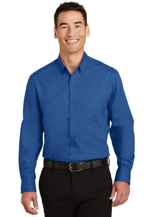 S663_trueblue_Custom_Logo_Dress_Shirt