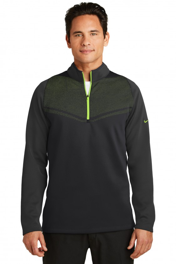 b3680a591740 Nike Golf Men s Therma-FIT Hypervis Quarter-Zip Pullover. 779803. Nike Black Chartreuse  ...