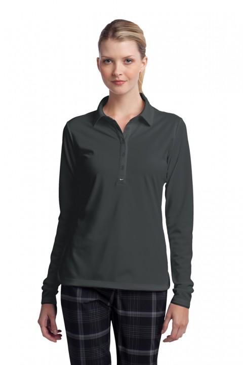 545322_anthracite_ladies_long_sleeve_custom_nike_polo