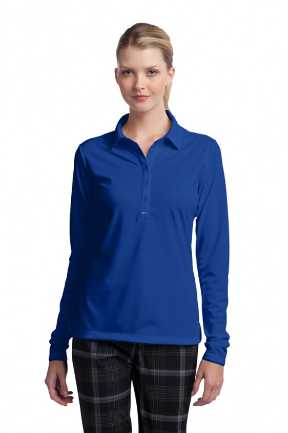 Ladies long sleeve custom nike polo dri fit stretch tech for Nike dri fit embroidered shirts