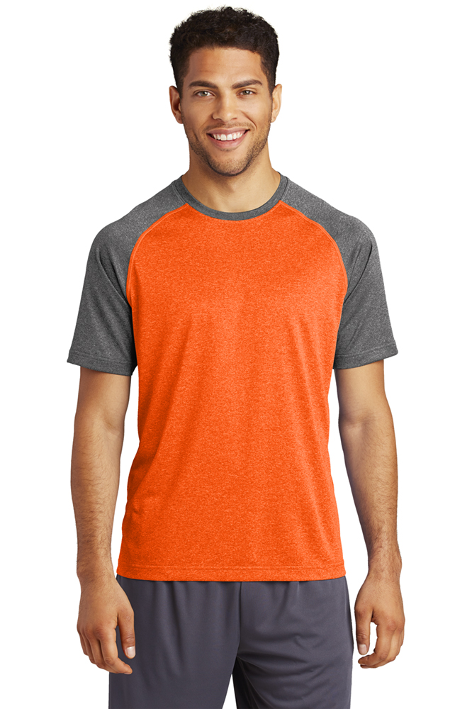 Sport Tek Deep Orange Heather/Graphite Heather